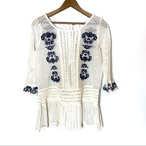 FREE PEOPLE EMBROIDERED MESH TOP SMALL IVORY